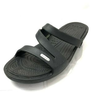 CROCS Patricia 10 Black Rubber Wedge Sandals